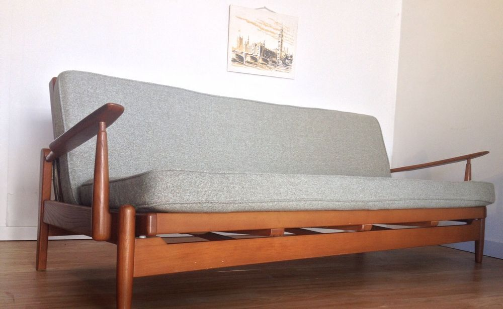 VINTAGE MID CENTURY TEAK 1960u0027s DANISH STYLE SOFA BED STUDIO COUCH   GUY  ROGERS? In