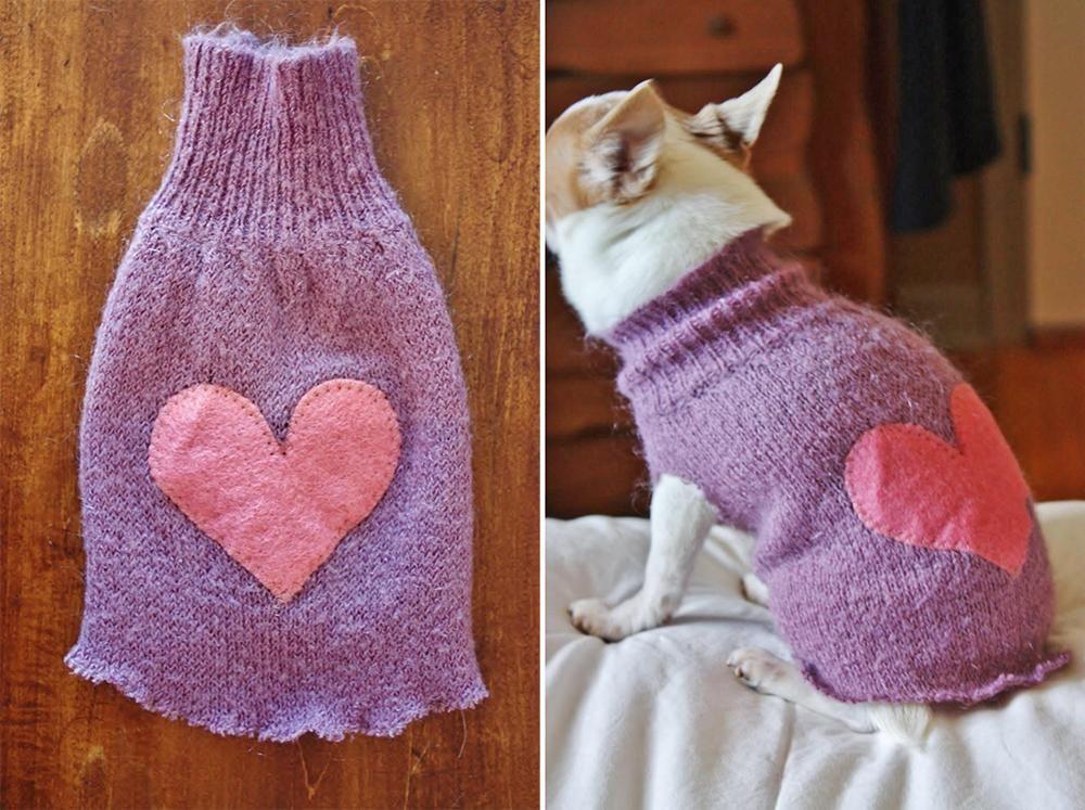v tement pour chien comment faire un chandail pour chien avec un vieux tricot il fait froid. Black Bedroom Furniture Sets. Home Design Ideas