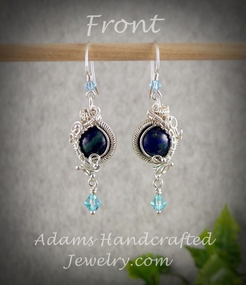 Daryl Adams of Adams Handcrafted Jewelry. Chrysocolla Azurite Gemstone Earrings Wire Wrapped in Fine Silver w/ Swarovski Crystals.