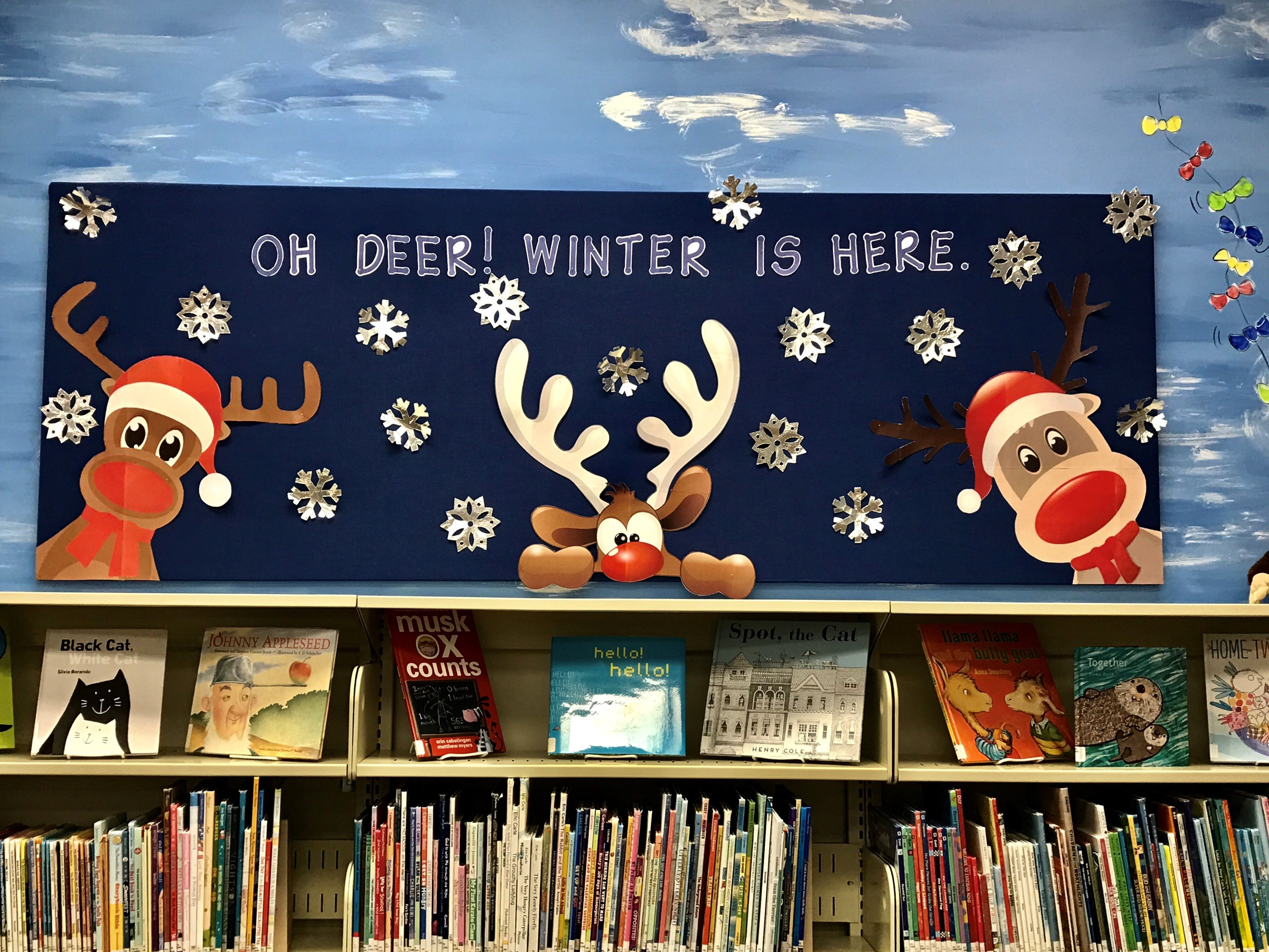 Winter Themed Library Bulletin Board Oh Deer Winter Is Here Thanks To Sarahto January Bulletin Boards Christmas Bulletin Boards Teacher Bulletin Boards These puppies are so cute! winter themed library bulletin board