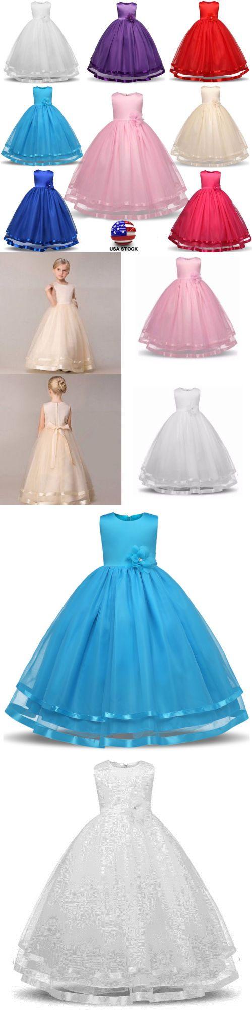 Girls kids floral princess formal wedding bridesmaid gown long dress