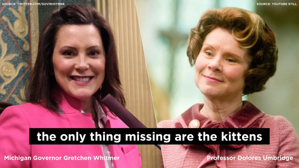 Gretchen Whitmer Is The Real Life Dolores Umbridge I Bet She Has Her Eo S Nailed To The Wall In 2020 Dolores Umbridge Michigan Gov Real Life