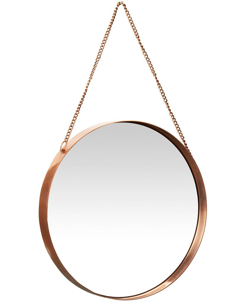 Kelly round copper framed mirror beach house bathrooms Round framed mirror