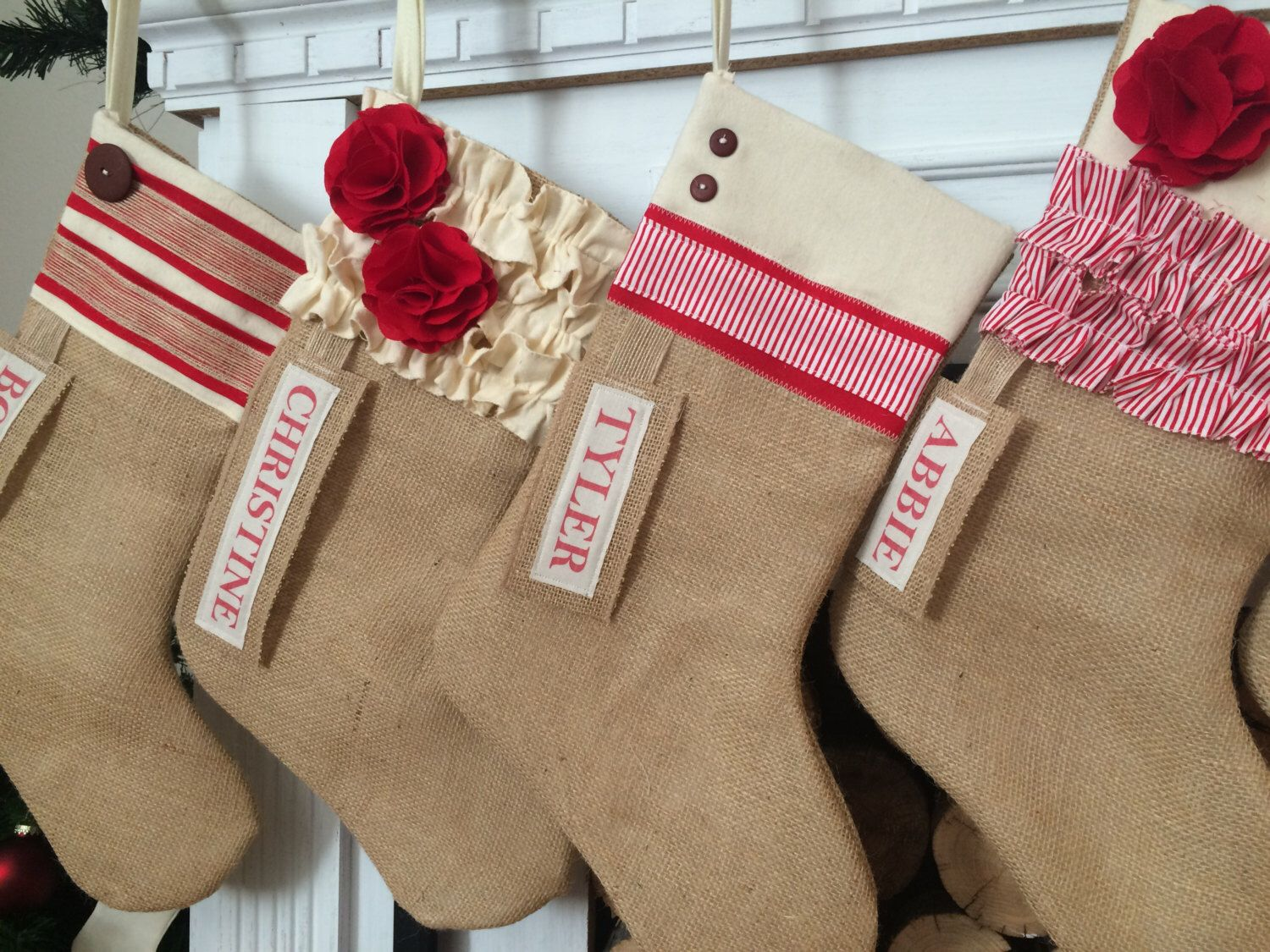 Farmhouse Christmas Stocking Red and White personalized