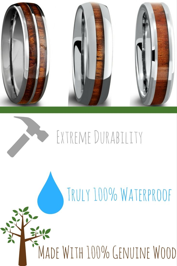 The most durable and only waterproof mens wood wedding rings These