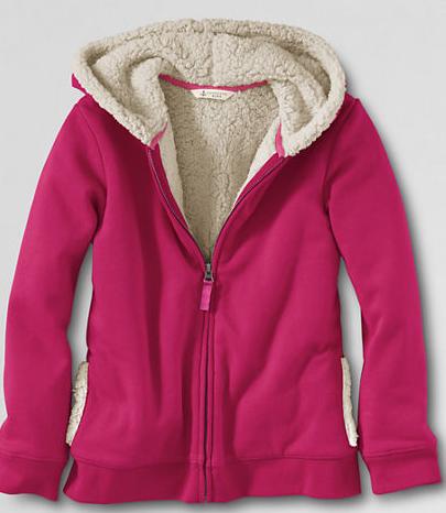 Little Girls' Sherpa Lined Zip-front Hoodie Raspberry Sorbet