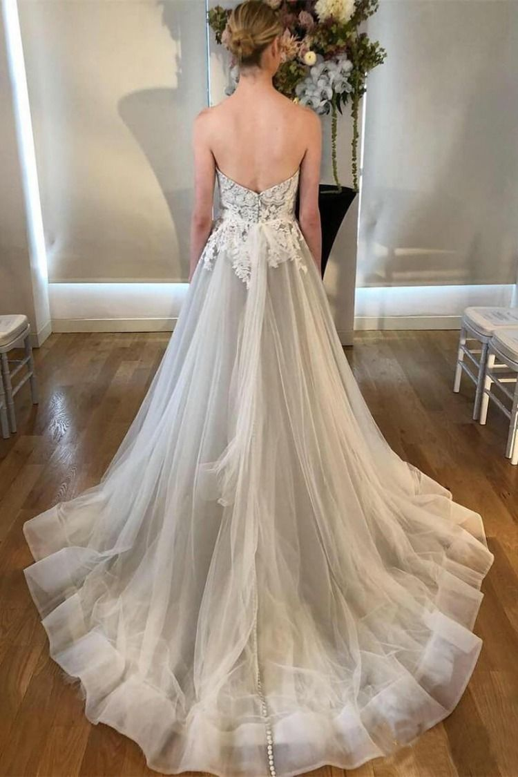 A line sweetheart strapless backless silver grey tulle