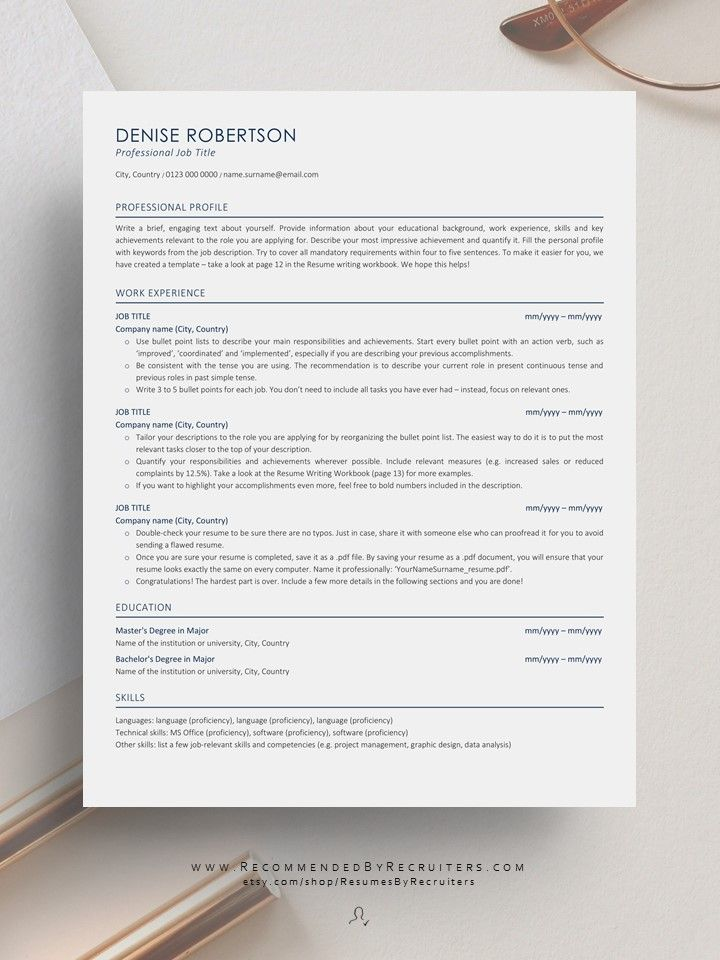 Executive Ats Friendly Resume Template Instant Download Ats Etsy In 2020 Simple Resume Template Resume Template Professional Modern Resume Template