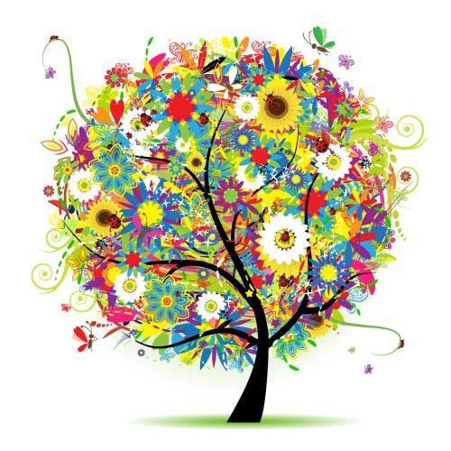 Arbol Con Flores En Vectores Imagens De Arvores Plaquinhas Para Festas Caleidoscopios
