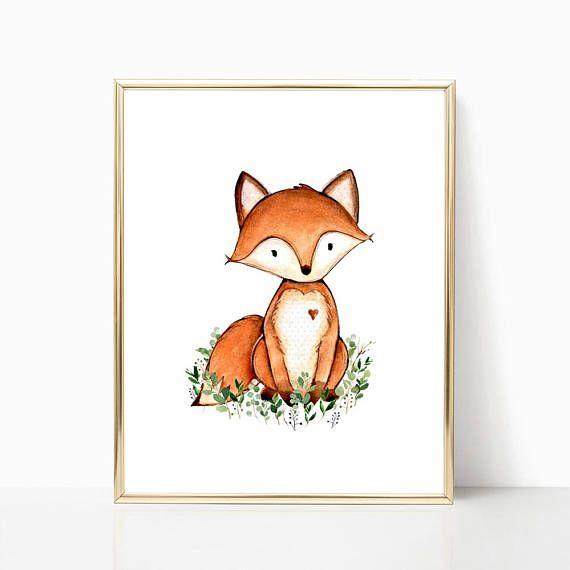 Fox Nursery Decor Printable Watercolor Print Baby