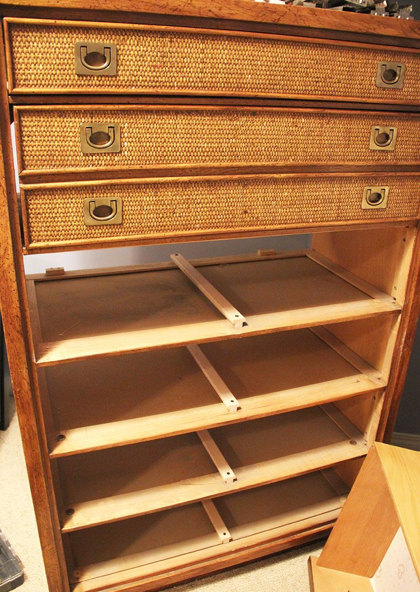 Mcm Dresser Rescue With New Hardware And Drawer Slides Diy Drawers Dresser Drawers Drawer Repair