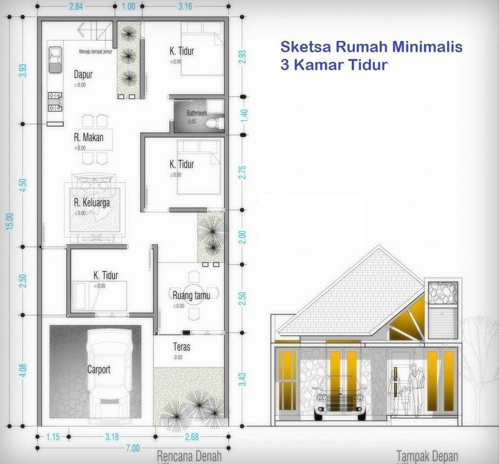 Denah Rumah 3 Kamar Ukuran 7x12 4 | Denah Rumah, Rumah Minimalis,  Arsitektur Rumah