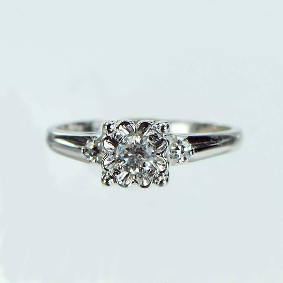 Vintage 1950s Diamond Engagement Ring 17ct Engagement Rings