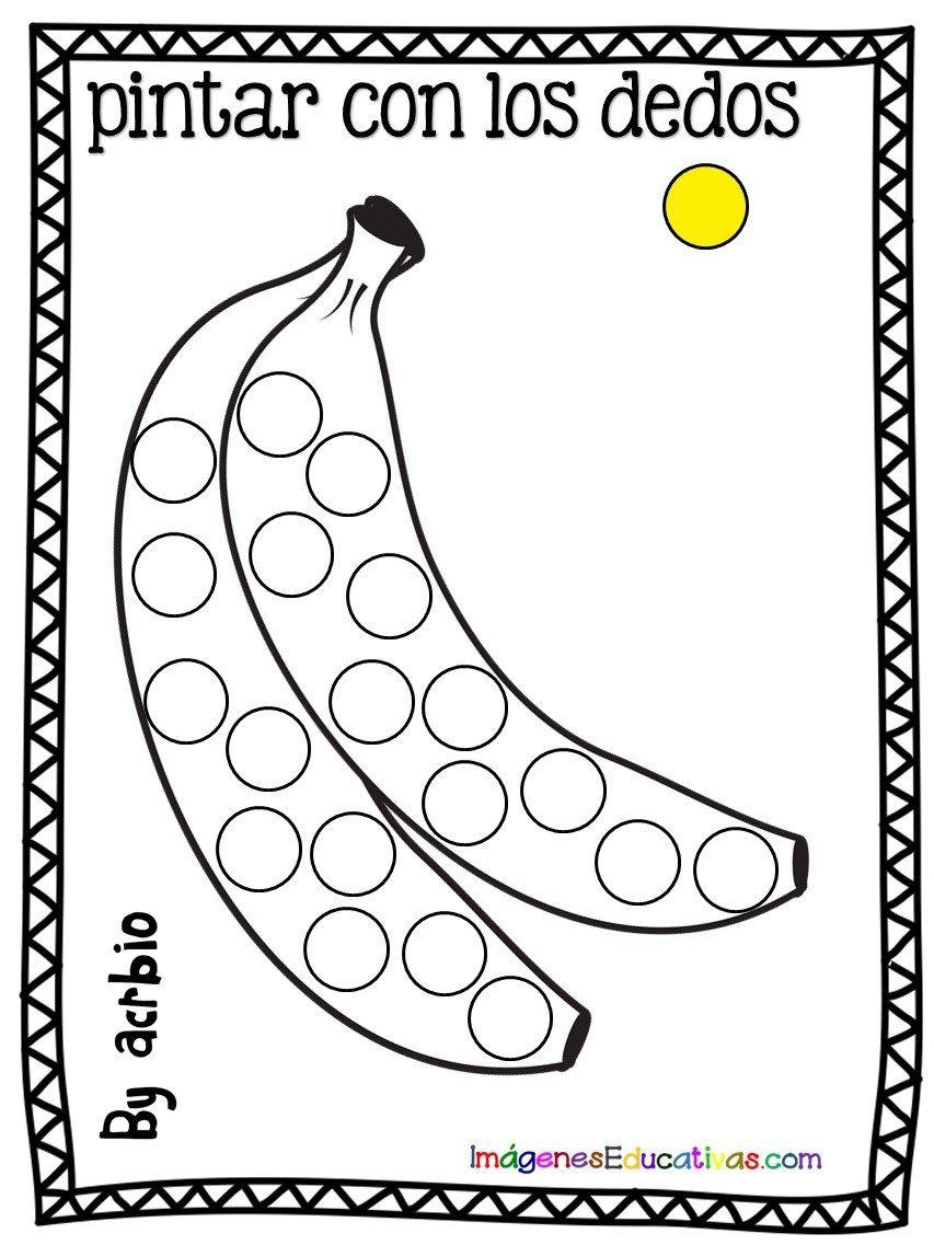 Fichas Para Pintar Con Los Dedos Frutas 5 Actividades De Arte Para Preescolares Actividades De Aprendizaje Preescolares Actividades Para Preescolar 3
