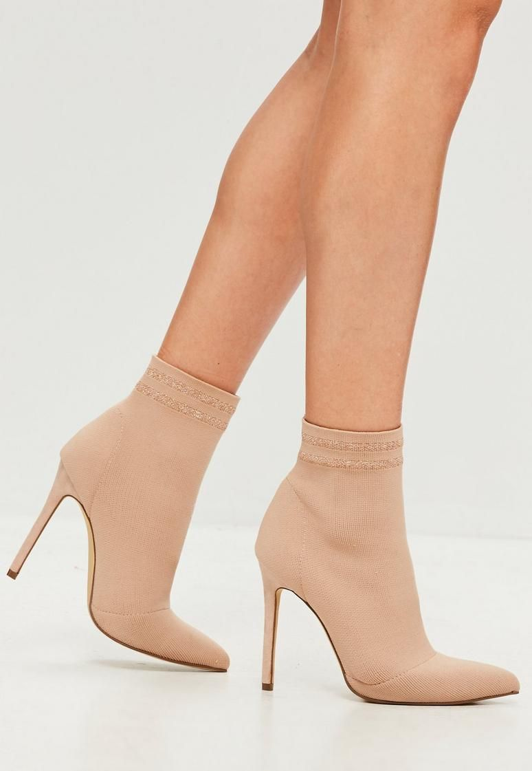 6963c2acd Carli Bybel x Missguided Nude Heeled Sock Boots