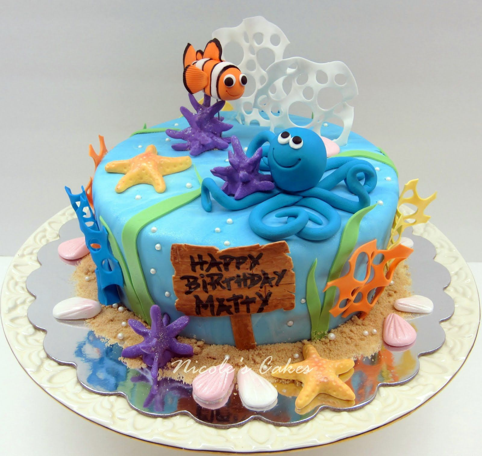 Under The Sea Birthday Cake Ocean Cakes Boy Birthday Cake Cake Designs Birthday
