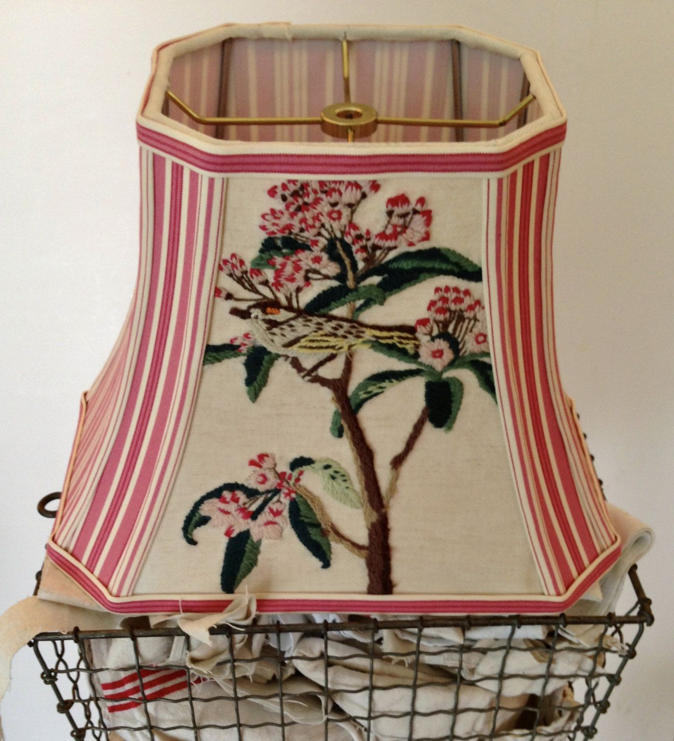Gold Finch Lamp Shade Rectangle Bell Lampshade Vintage Bird Needlepoint And Stripe Raspberry Shabby Chic Lamp Shades Antique Lamp Shades Creative Lamp Shades