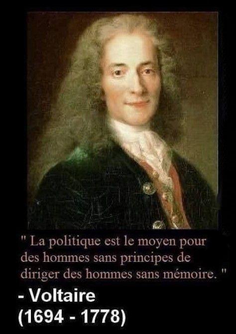 La Politique Est Le Moyen Pour Des Hommes Sans Principes De Diriger Des Hommes Sans Memoire Voltaire Citations Voltaire Voltaire Citations Philosophiques