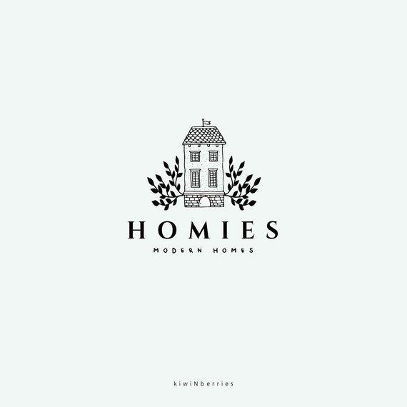 House logo design, House premade logo, Fern leaves botanical, detailed house, farmhouse logo, Real estate logo, black and white, watermark