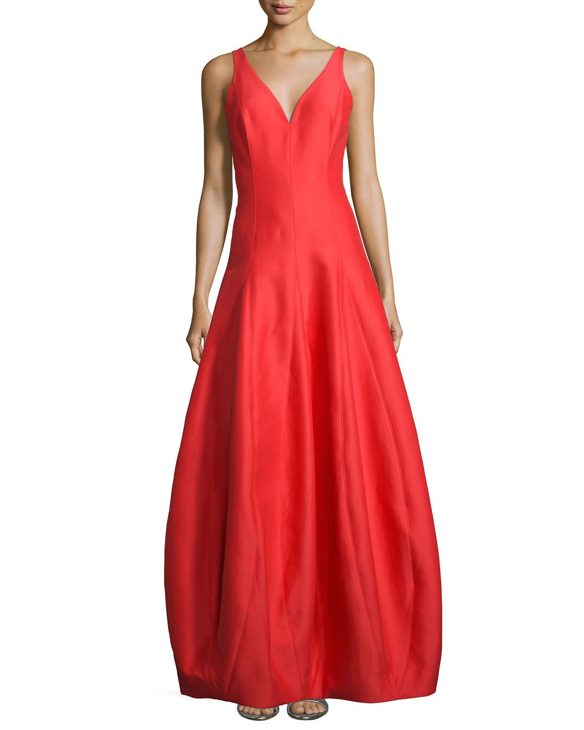 Neiman marcus dresses for weddings  Sleeveless VNeck Tulip Gown Navy  Products  Pinterest  Halston