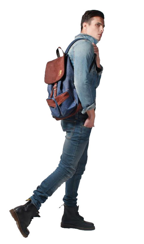 Backpack Jeans Outfit Guy Walking Man Cutout Png Render Photoshop Transparent People Walking Png People Cutout People Png