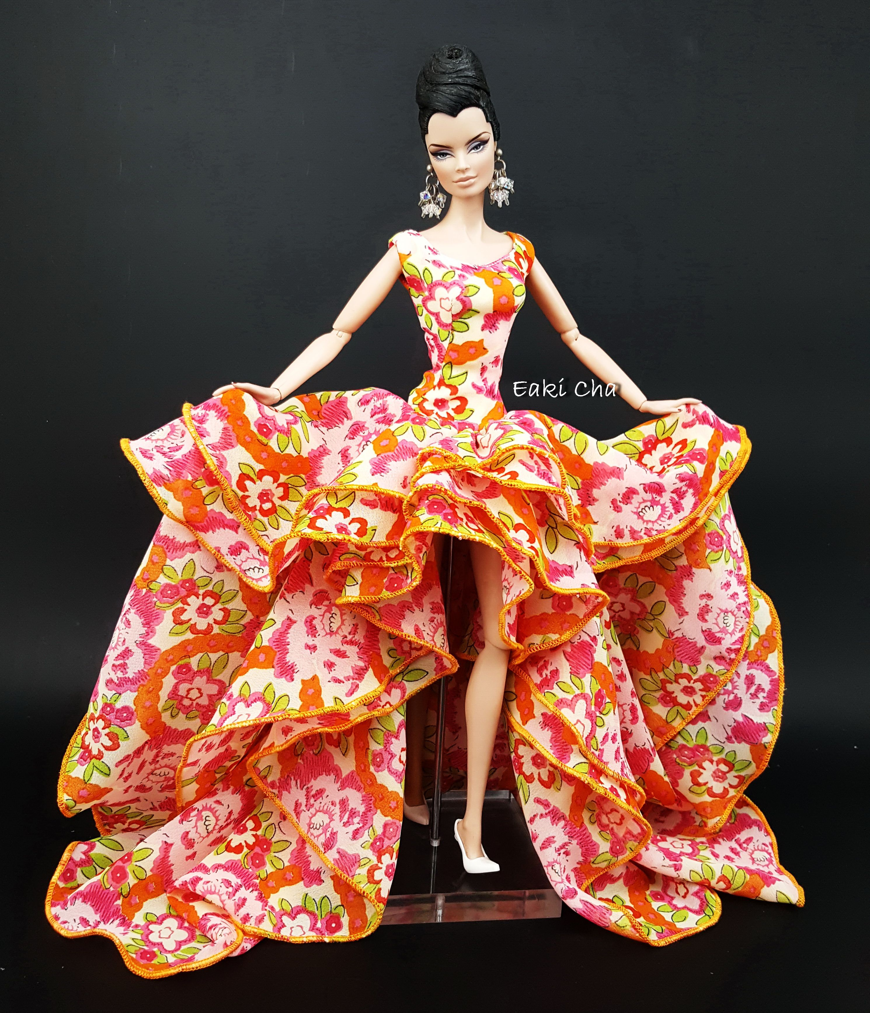 Eaki Black Chiffon Evening Dress Outfit Gown Fits Silkstone Fashion Royalty FR