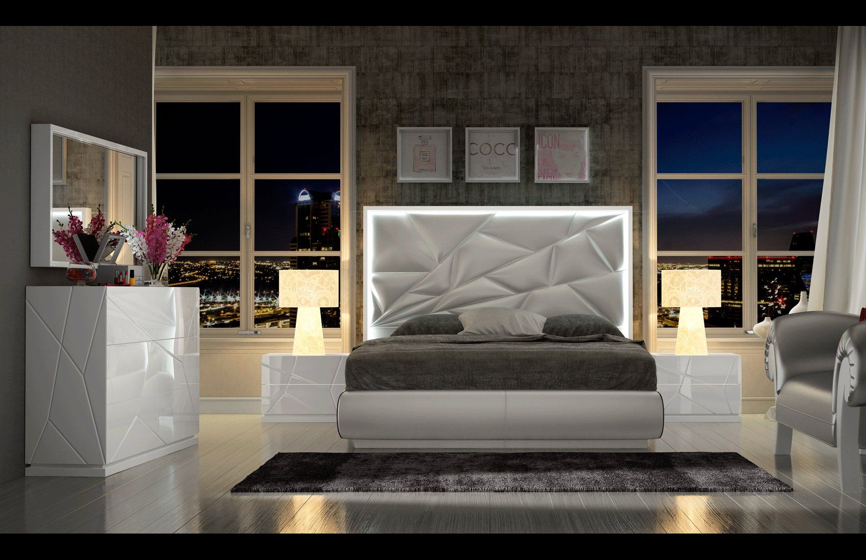 Made in Spain Leather Platform Bedroom Set with Upholstered ...