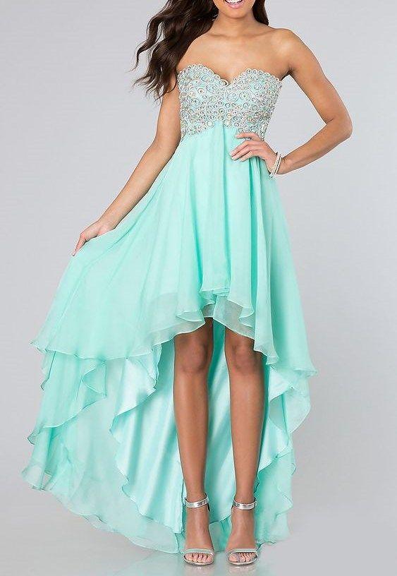 High Low Homecoming Dress With Mint Green Chiffon Sweetheart