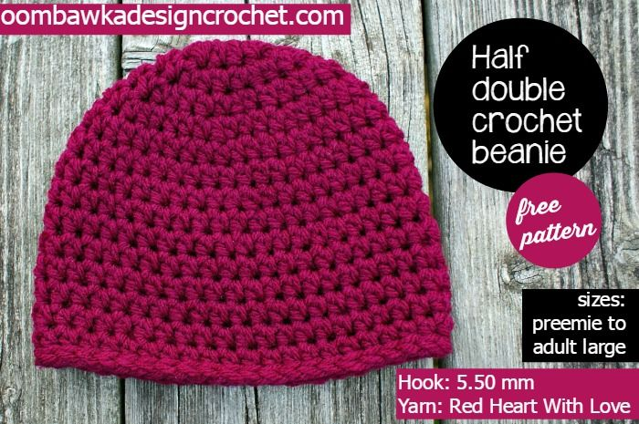 Half Double Crochet Basic Beanie Hat Pattern Double