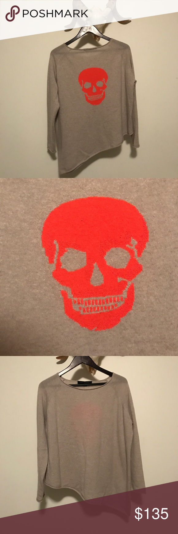 Skull Cashmere A-line Pullover Super cozy and soft a-line sweater by skull and cashmere. Bright orange skull featured on the back. Worn a handful of times but in great condition! Seriously the coziest. trade modeling skull cashmere Sweaters Crew & Scoop Necks