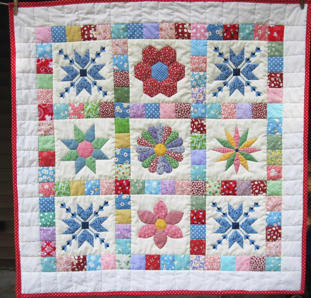 Baby Patchwork Quilt Retro baby quilt Quilted Wall Hanging ... : handmade quilted wall hangings - Adamdwight.com