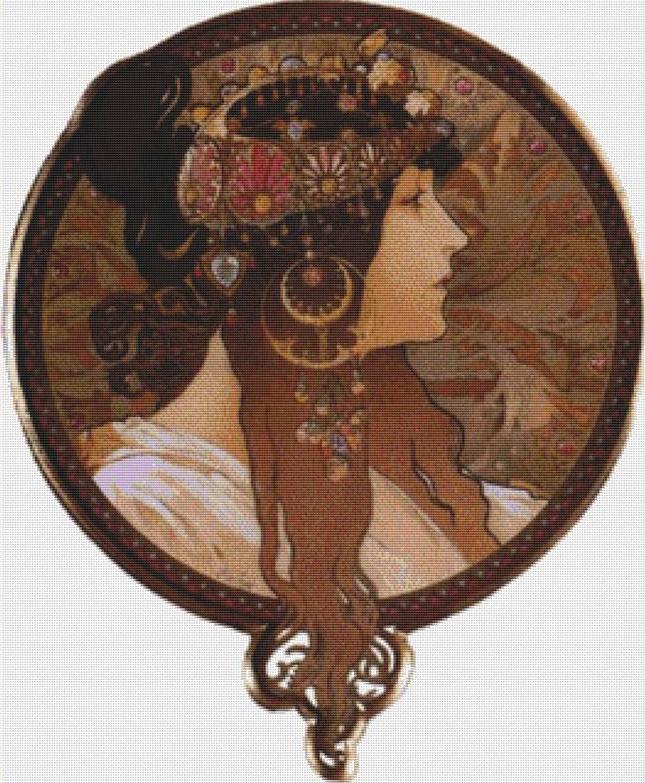 Byzantine Head. The Brunette Cross Stitch Pattern
