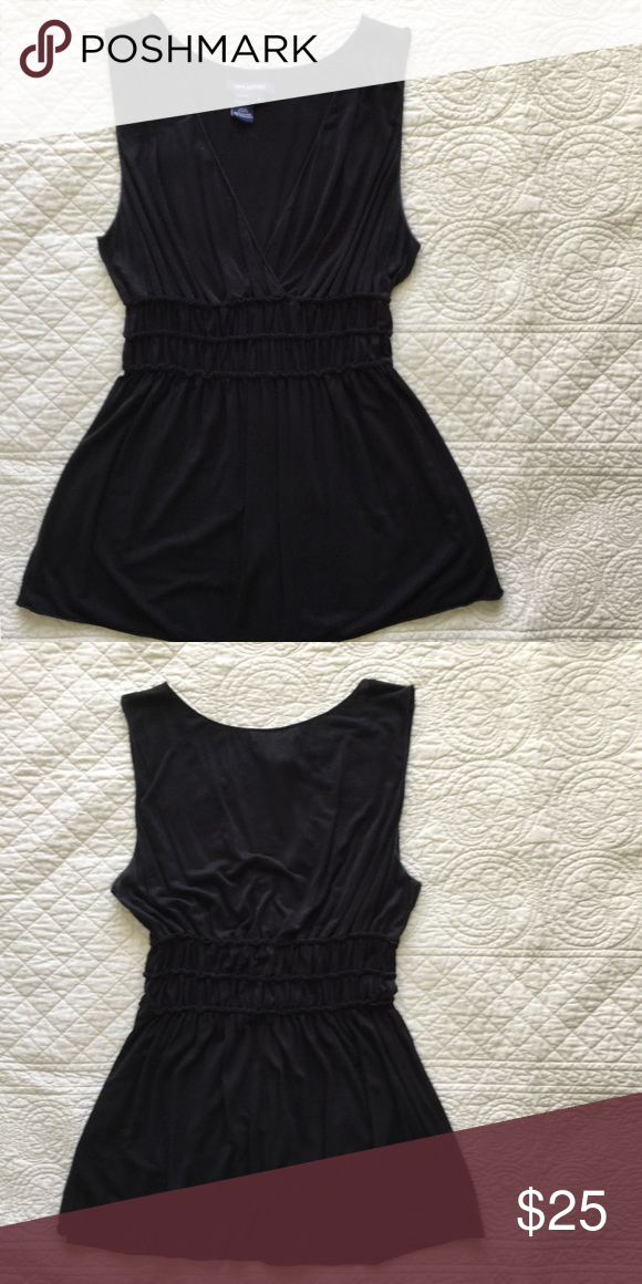 "Cute, comfy, figure flattering top Max Edition fluid black knit sleeveless top. Surplice front with elastic stirred waist and shirring at shoulder.  18"" across bust, 28"" back length from shoulder. 92% viscose/8% spandex. Max Edition Tops Tank Tops"