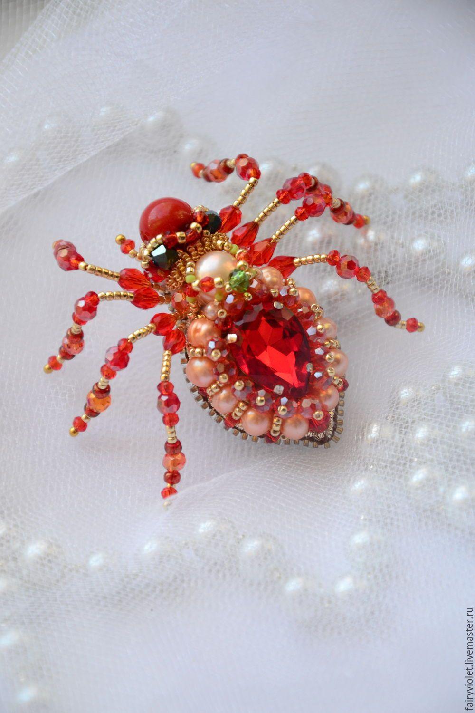 Купить Брошь паук жук Марго - ярко-красный, красивый подарок, красный, оранжевый, брошь