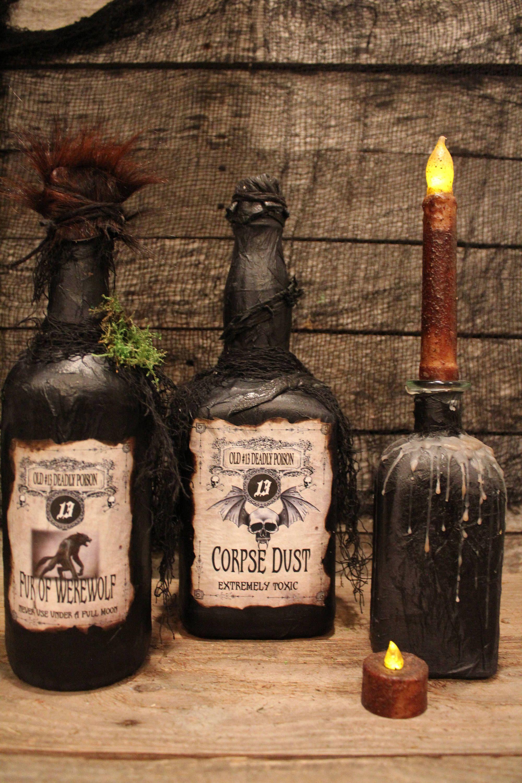 Halloween Decorations Potion Bottles Halloween Potion Bottle Set Fur Of Werewolf And Corpse Dust
