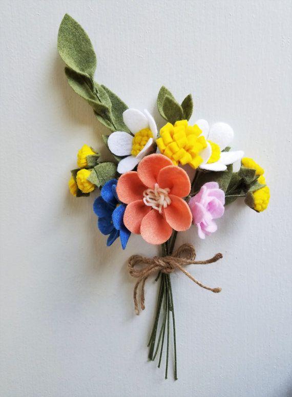 Country Wildflower Bouquet / Felt Flower Bouquet by ThreadandHeart ...