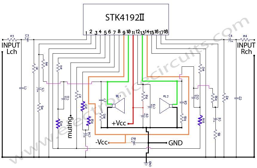 sanyo car stereo wiring diagram stk4192    stereo    power amplifier circuit    diagram     stk4192    stereo    power amplifier circuit    diagram
