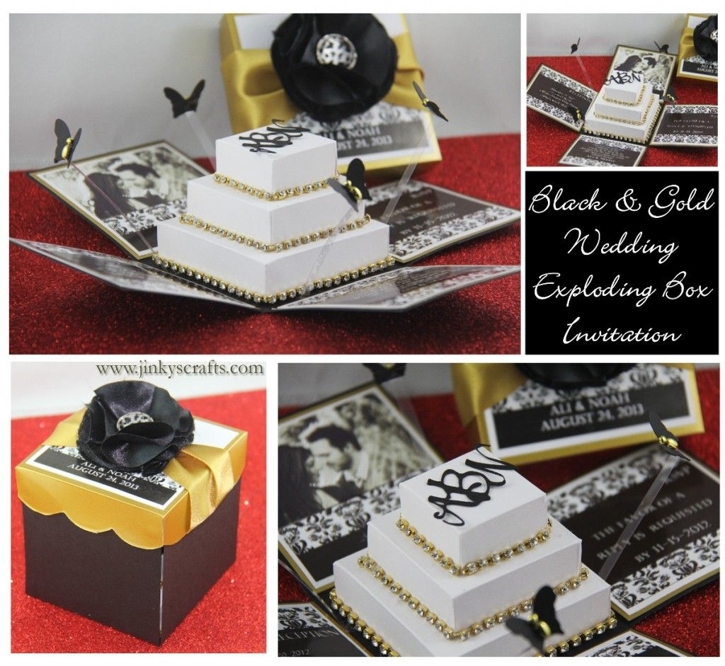 Black & Gold Damask Exploding Box Wedding Invitation   Card ...