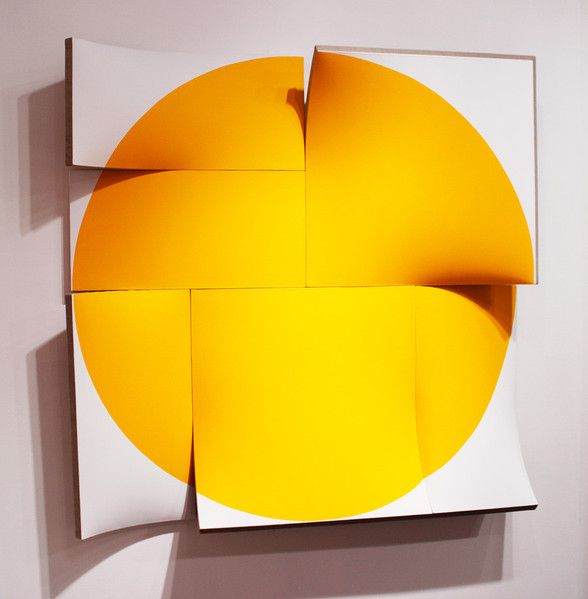 Jan Maarten Voskuil, Flatout Pointless Permanent Yellow, Acrylic on Linen, 63 x 63 x 8.7 inches