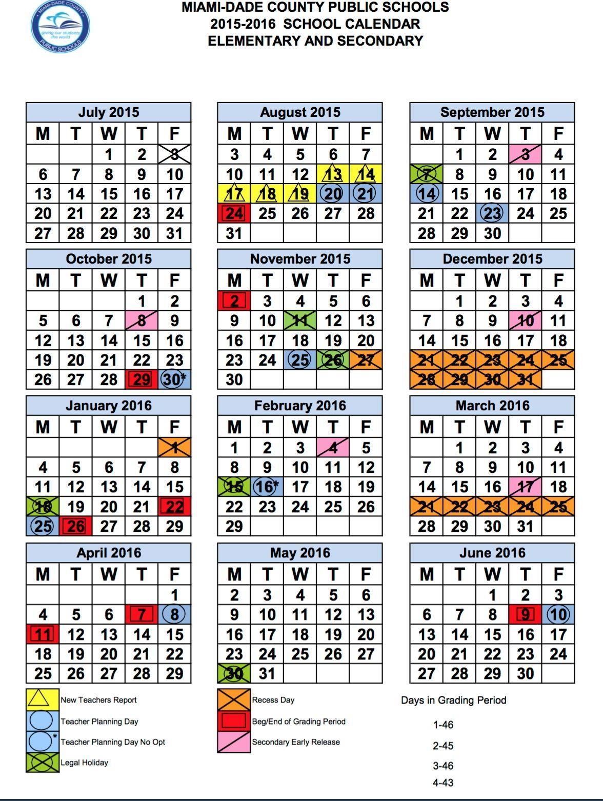 Exceptional Calendar School Year Miami Dade School Calendar Homeschool Calendar High School Calendar