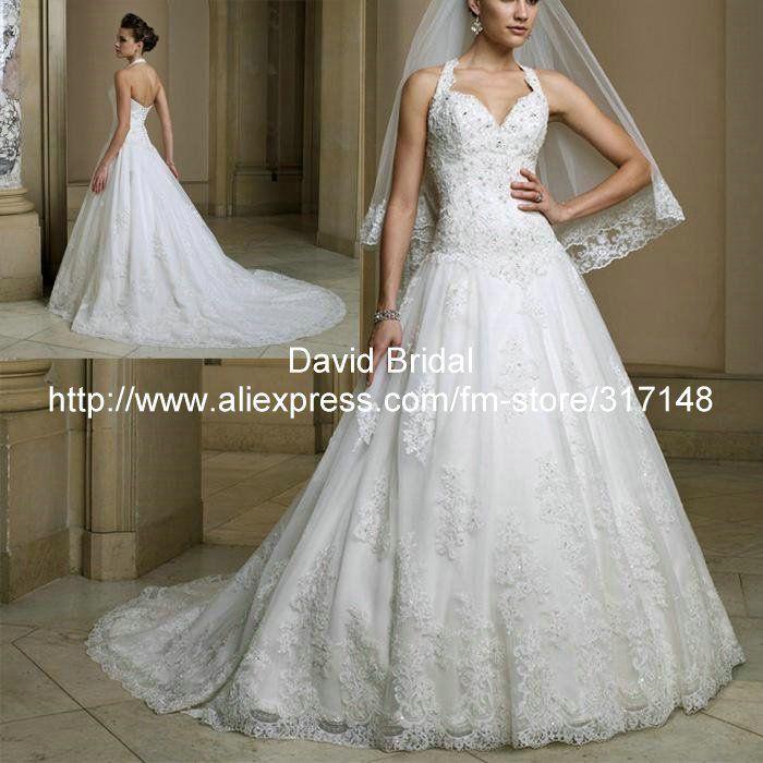 New Arrival DV059 Elegant Appliqued A Line Princess Halter Top Lace Wedding Dress US $232.00