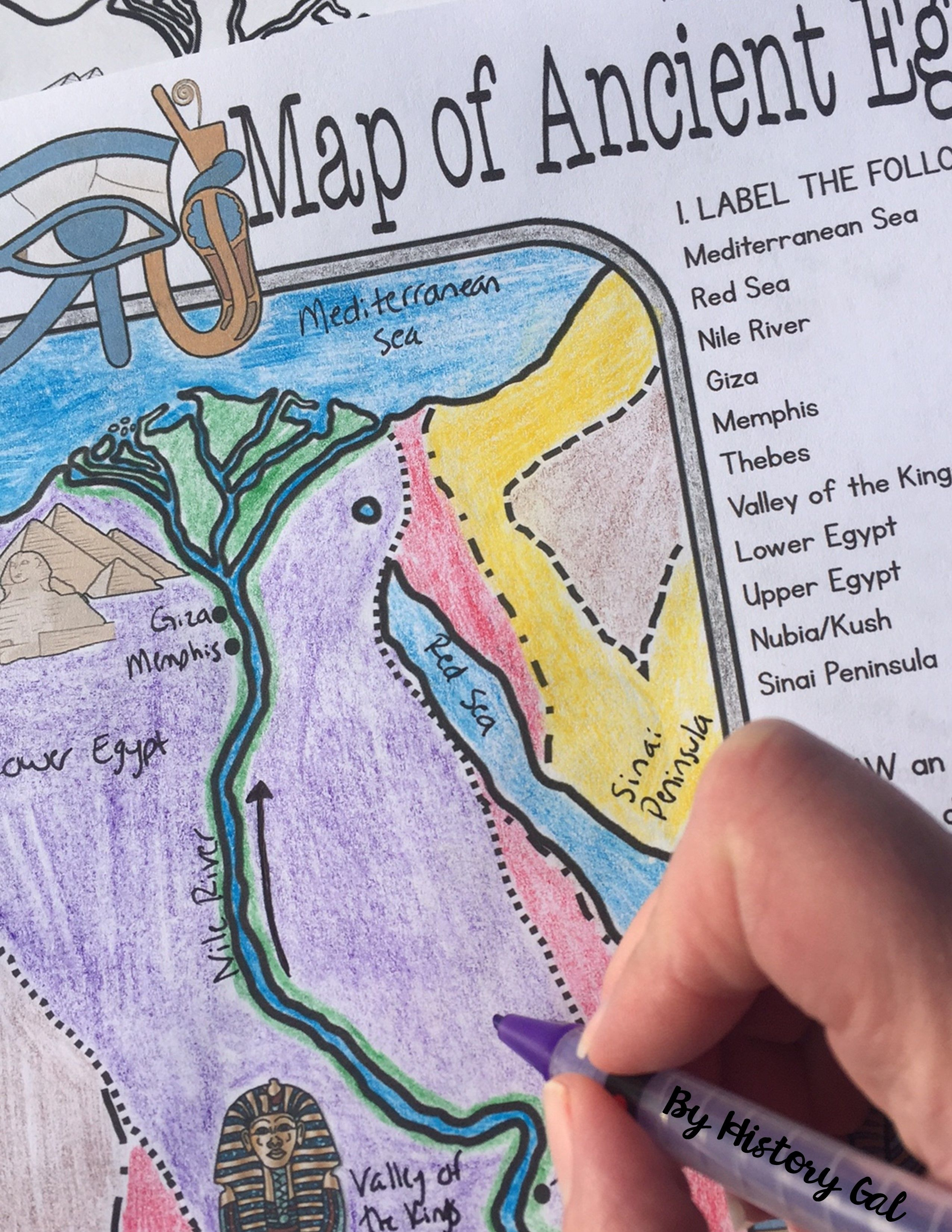 medium resolution of Students will learn about important places in the Ancient Egypt  civilization as they label and color a map…   Ancient egypt map