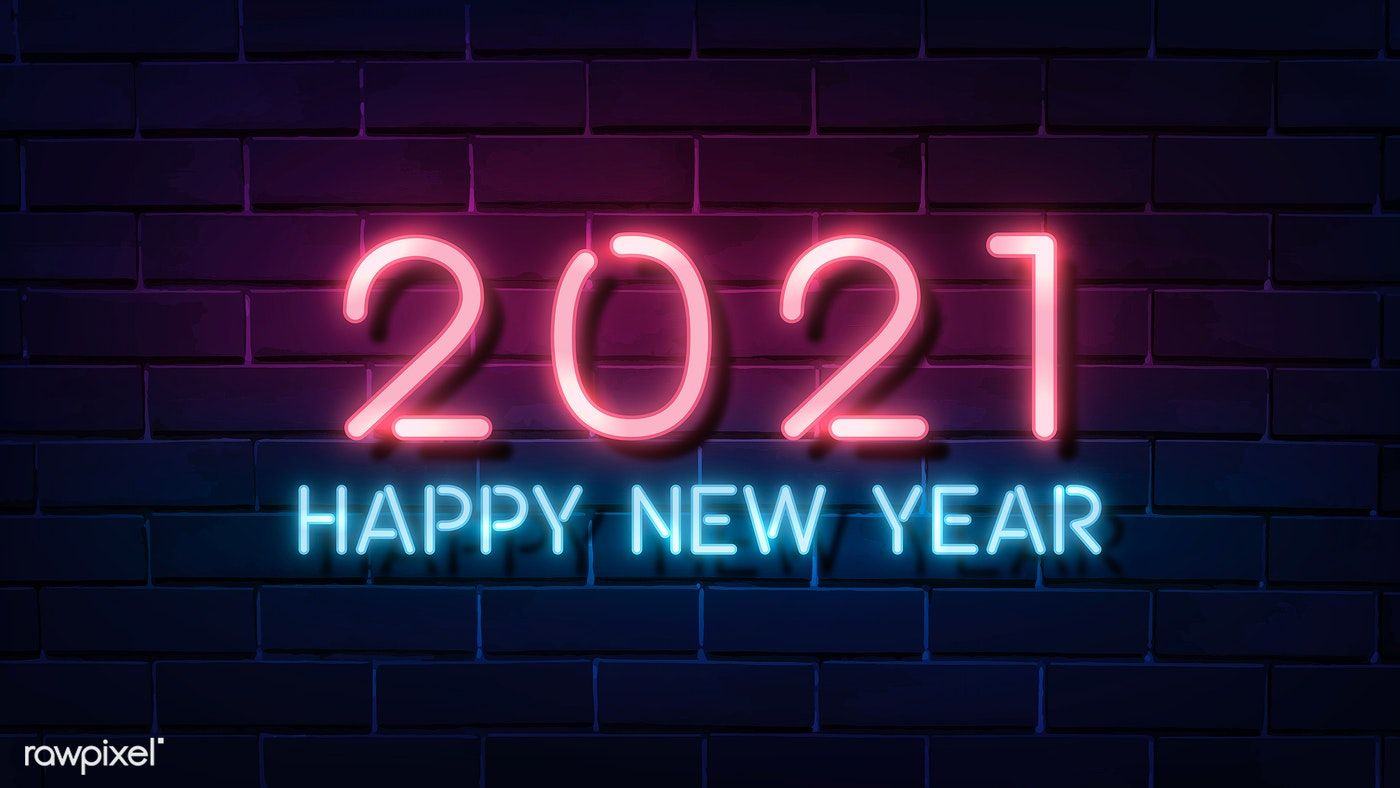 Pink neon happy new year 2021 wallpaper vector premium