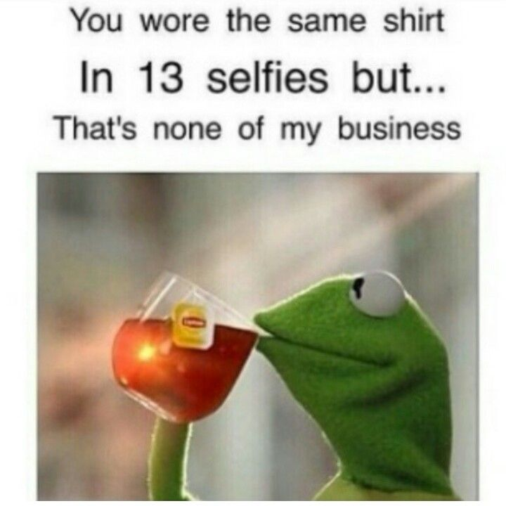 You wore the same shirt in 13 selfie but that's none of my ... None Of Your Business Quotes Kermit
