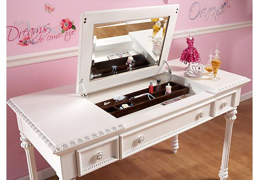 Picture Of Disney Princess White Desk W Vanity Mirror From Desks