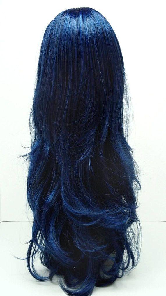 Long 26 Inch Wavy Dark Midnight Blue Wig Anime Cosplay Wig Wavy With Bangs 14 102 Cara Mblue Dark Blue Hair Midnight Blue Hair Blue Hair