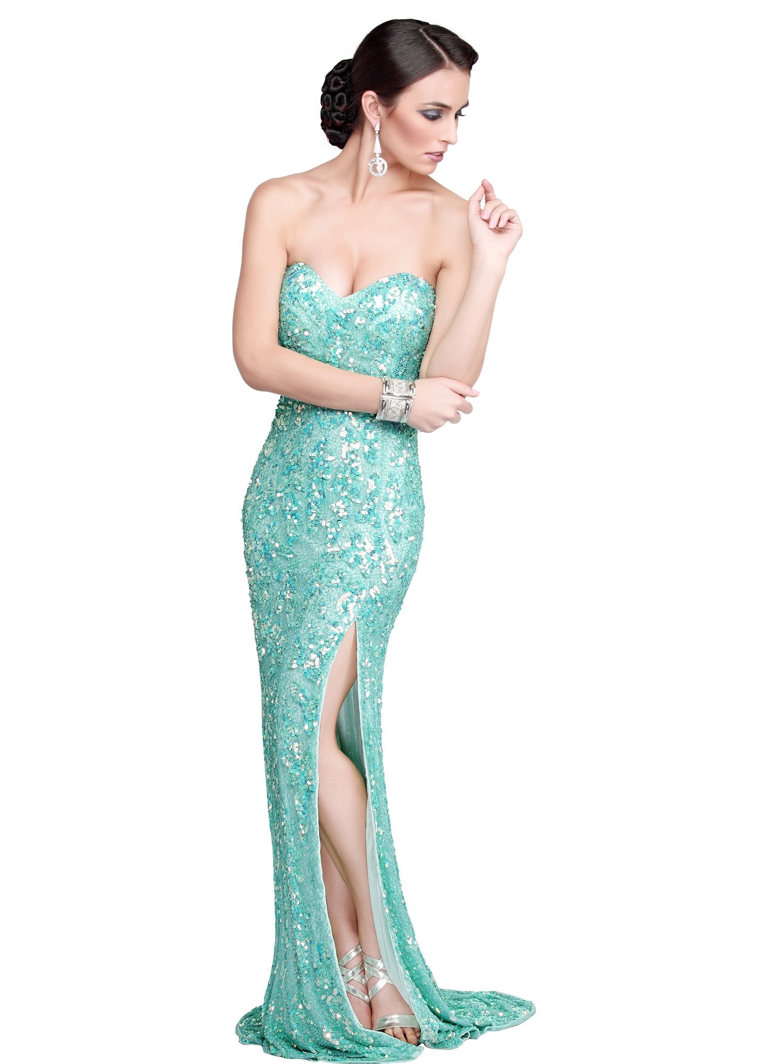 Find Primavera 9677 aqua sequin sweetheart prom dresses available ...