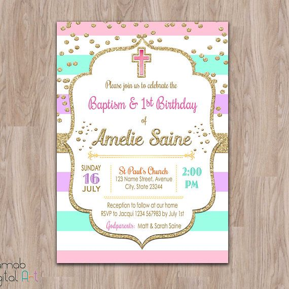 First Birthday And Baptism Invitations 1st Birthday And: Baptism And Birthday Invitation, 1st Birthday Baptism