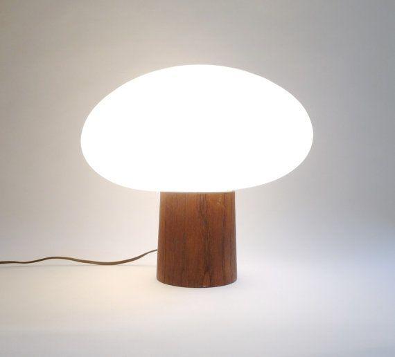 Mid Century Modern Laurel Mushroom Lamp with Teak Base