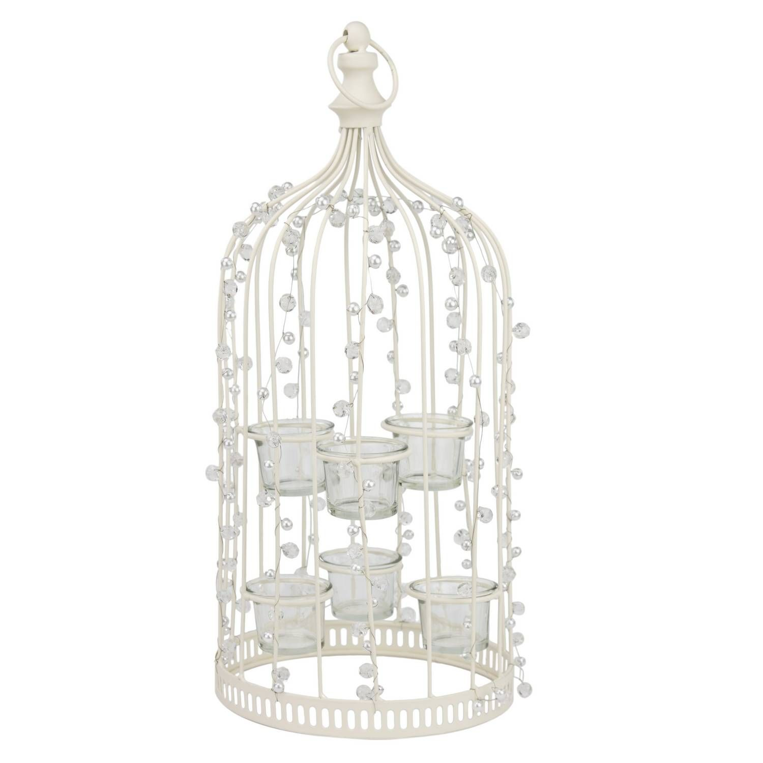 This cream coloured \'Jewelled Birdcage Tealight Holder\' is perfect ...